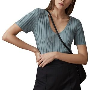 Reiss Aster Ribbed Vneck Top